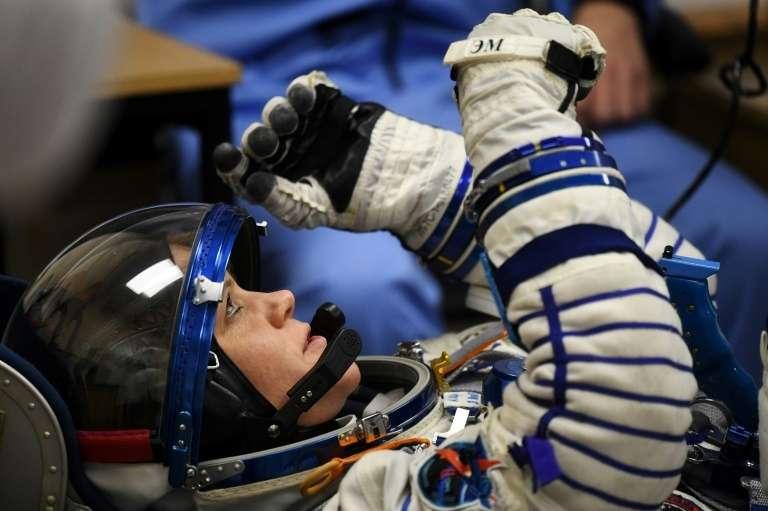 L'astronaute américaine Anne McClain, vue ici le 3 décembre 2018 au cosmodrome de Baïkonour, au Kazakhstan, est accusée par son ex-compagne d'avoir commis le premier délit dans l'espace. © Kirill Kudryavtsev - AFP/Archives