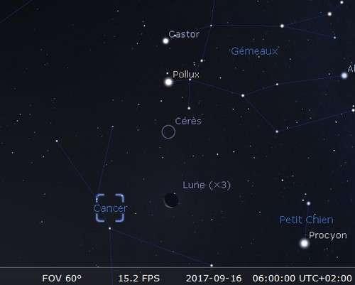 La Lune en rapprochement avec l'amas de la Crèche et Cérès