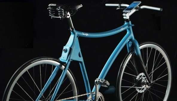 Prévu pour la ville, ce prototype de smart bike offre une vision vers l'arrière tandis que les rayons laser indiquent aux automobilistes la distance à respecter. Un minuscule ordinateur et un smartphone servent à piloter le tout et à utiliser le GPS. © Samsung