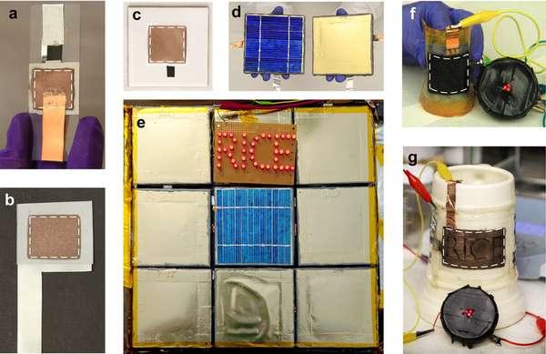 Durant les tests, des batteries Lithium-ion ont été « peintes » sur du verre (a), de l'acier (b), de la céramique (c). Les tuiles de céramique ont parfois été recouvertes en plus d'un panneau photovoltaïque permettant de recharger le dispositif (d). Neuf tuiles ont également été assemblées pour alimenter 40 Led (e). Des diodes électroluminescentes ont brillé grâce à une alimentation électrique déposée sur du plastique (f) ou sur un mug en céramique (g). Dans ces deux derniers cas, la forme du support n'était pas plane, ni même lisse. © Singh et al. 2012, Scientific Reports