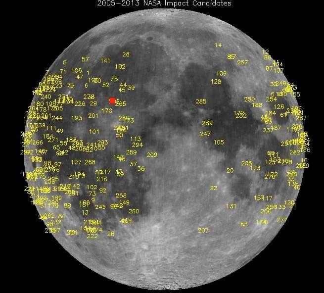 Carte des impacts de météorites à la surface de la Lune. L'explosion survenue le 17 mars 2013, indiquée par un point rouge, était visible depuis la Terre. © Nasa
