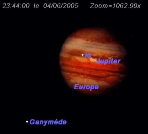 Eclipse de Ganymède et Europe, et passage de Io devant la planète Jupiter