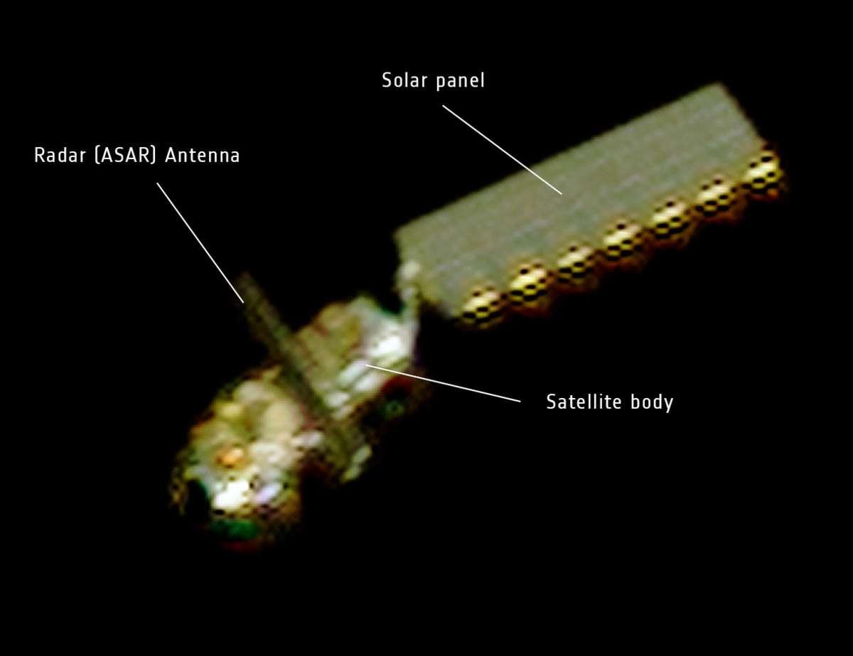 Le satellite européen Envisat vu par le satellite Pléiades le 15 avril 2012. © Centre national d'études spatiales (Cnes)