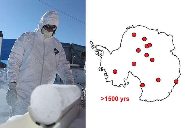 Un glaciologue du Desert Research Institute examine une carotte de glace fraîchement prélevée en Antarctique (à gauche). Sur la carte à droite sont représentés les emplacements de certains des sites où des carottes de glace ont été extraites pour étudier l'histoire des dépôts provenant des aérosols volcaniques émis dans l'hémisphère sud depuis 2.000 ans. © Desert Research Institute