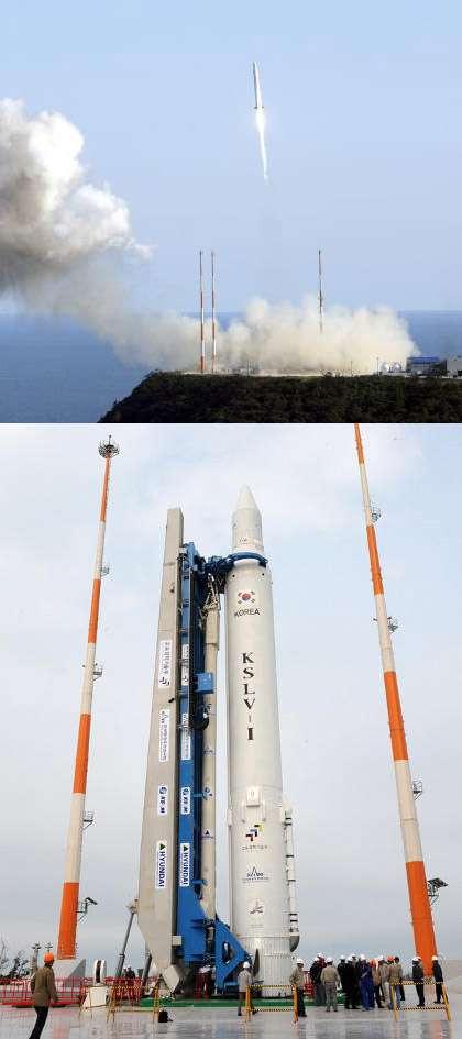 La première tentative de lancer le KSLV-1 s'est soldée par l'échec de la mise en orbite de la charge utile (un satellite scientifique d'une centaine de Kilo) en raison d'un mauvais fonctionnement de la coiffe (aout 2009). Crédit Kari