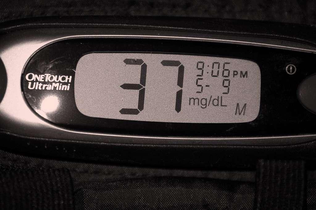 Un glucomètre portatif donne immédiatement la valeur de la glycémie, considérée comme normale si elle est comprise entre 0,7 et 1,1 g/L. © Bethography - Melting mama, Flickr, cc by nc nd 2.0