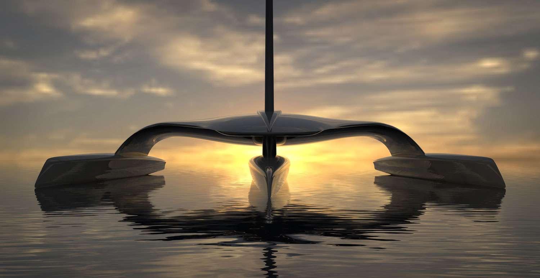 Ce trimaran au design futuriste est le concept du bateau autonome Mayflower Autonomous Research Ship qui devrait prendre la mer en 2020. Propulsé par le vent et des moteurs électriques à énergie solaire, il doit traverser l'Atlantique en partant de Plymouth (Royaume-Uni) pour rallier Plymouth dans l'État du Massachusetts aux États-Unis. © Shuttlewoth Design