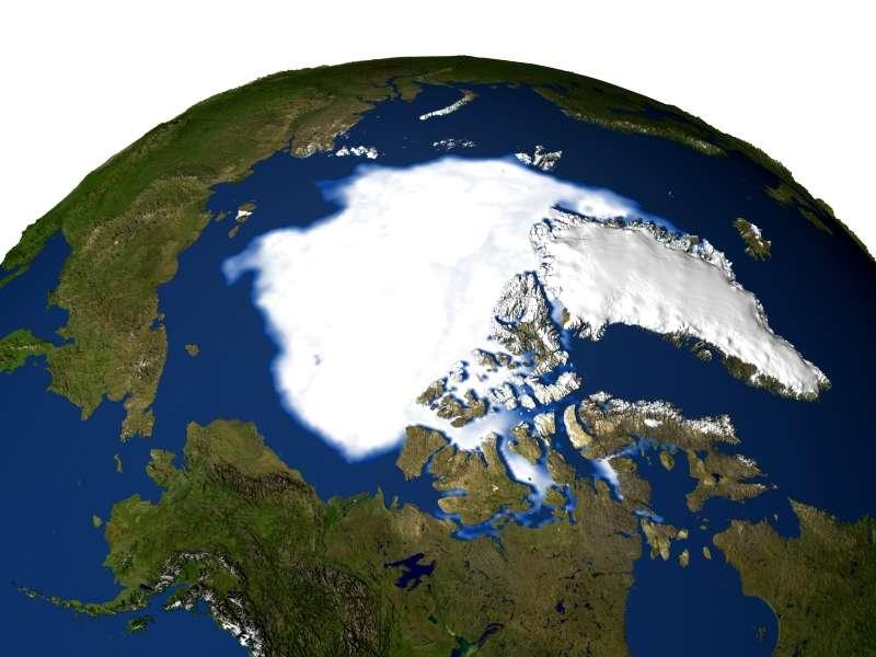 La calotte arctique à son minimum de 2005. Crédit Nasa