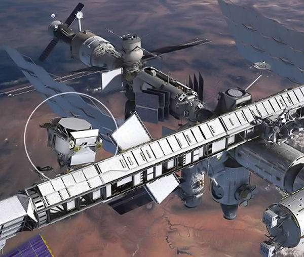 Le détecteur AMS est représenté sur cette vue d'artiste de l'ISS dans un cercle blanc. Crédit : Nasa