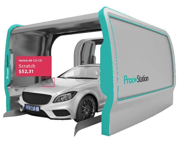 Le portique ProovStation réalise un scan complet du véhicule en trois secondes. © ProovStation