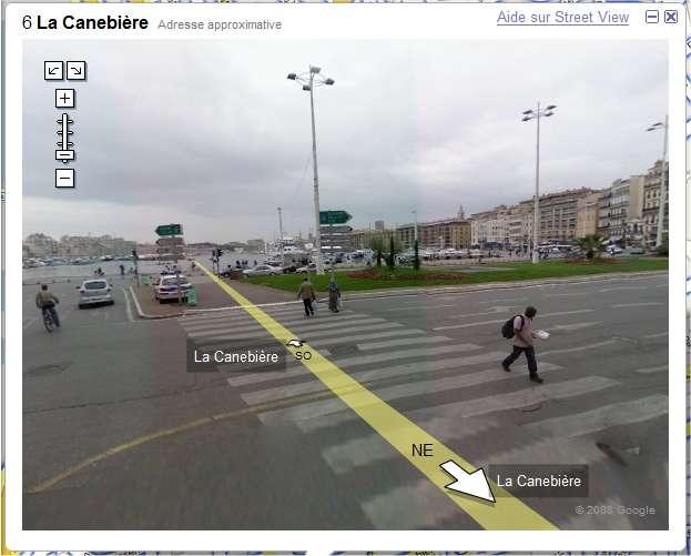 Avec Streetview, on ne peut se promener qu'en affichant une série d'images fixes, à la manière d'un diaporama. Nokia veut ajouter le mouvement pour suivre continûment le déplacement virtuel, comme dans un jeu vidéo. (Image du service Google Streetview.)
