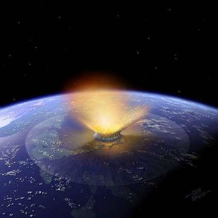 Environ 70 % des espèces se seraient éteintes durant la crise biologique du Crétacé-Tertiaire qui a été provoquée, aux dernières nouvelles, par la chute d'une comète. © Don Davis