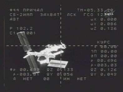 L'ISS vue par une caméra automatique à bord de Progress 24 en approche.