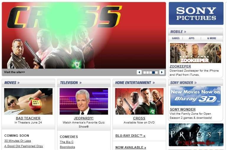 Le site de Sony Pictures, entrée du public. L'entrée des pirates se fait par l'arrière, via une requête SQL. À l'intérieur, les données sont écrites en clair... © Sony