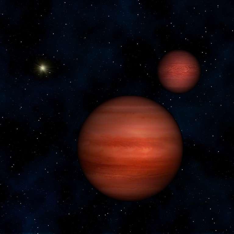 Une vue d'artiste des deux naines brunes de Wise J104915.57-531906. Depuis presque un siècle, on n'avait pas découvert d'objet aussi proche du Système solaire. © Janella Williams, Penn State University