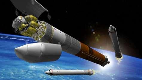 Vue d'artiste du CaVL lancant le Module de surface lunaire (LSAM)