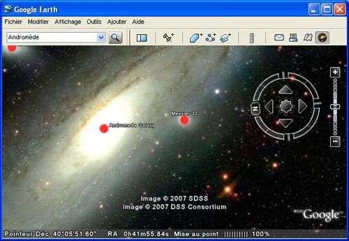 Le ciel comme si vous y étiez ! Capture d'écran Google Sky.