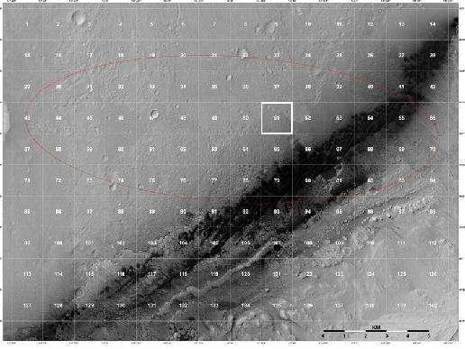 Une image bien moins spectaculaire mais sur laquelle sont aujourd'hui penchées de nombreuses personnes du programme MSL. Prise par l'orbiteur MRO, avec son instrument Hirise, elle montre la région où se trouve Curiosity, quadrillée avec un maillage de 1,3 km. Le rover se situe actuellement dans le carré surligné, portant le numéro 51 et baptisé Yellowknife (le nom d'une ville canadienne). Le mont Sharp, hors champ, se trouve en bas à droite. © Nasa/JPL-Caltech/University of Arizona