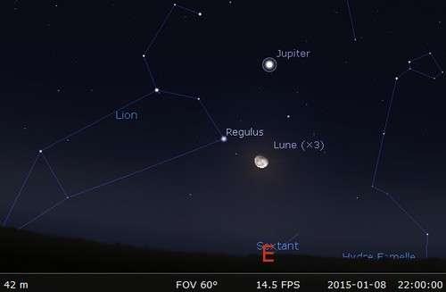 La Lune près de la brillante Régulus. © Futura-Sciences