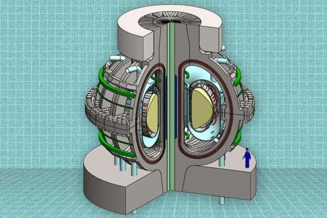 Une vue en coupe du réacteur ARC proposé par une équipe du MIT. Grâce à une nouvelle technologie magnétique, le réacteur ARC devrait permettre de produire, à un prix plus faible, la même quantité d'énergie qu'un réacteur beaucoup plus grand. © MIT ARC Team