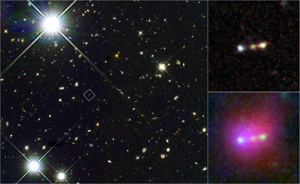 Cet assemblage de photos montre à gauche un champ d'observation pris par le télescope Hubble. On a indiqué dans un carré la position d'une bulle géante de gaz primordial baptisée Himiko. En haut à droite, les images prises par Hubble montrent que Himiko contient trois petites galaxies en interaction. L'image en bas à droite est une combinaison d'observations réalisées dans l'infrarouge à l'aide des télescopes Hubble, Subaru et Spitzer. Les mesures de Hubble sont en vert, tandis que celles de Subaru et Spitzer sont respectivement en bleu et en rouge. © Nasa, Esa, Eso, NRAO, NAOJ, JAO