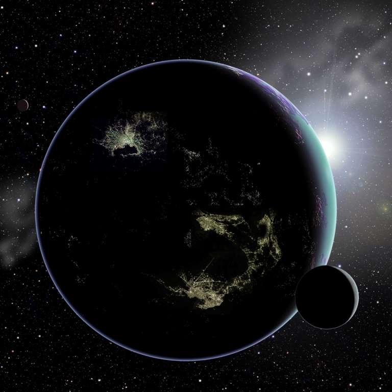 Sur cette image d'artiste, des cités E.T. sont visibles sur la face nocturne d'une exoplanète. © David A. Aguilar (CfA)