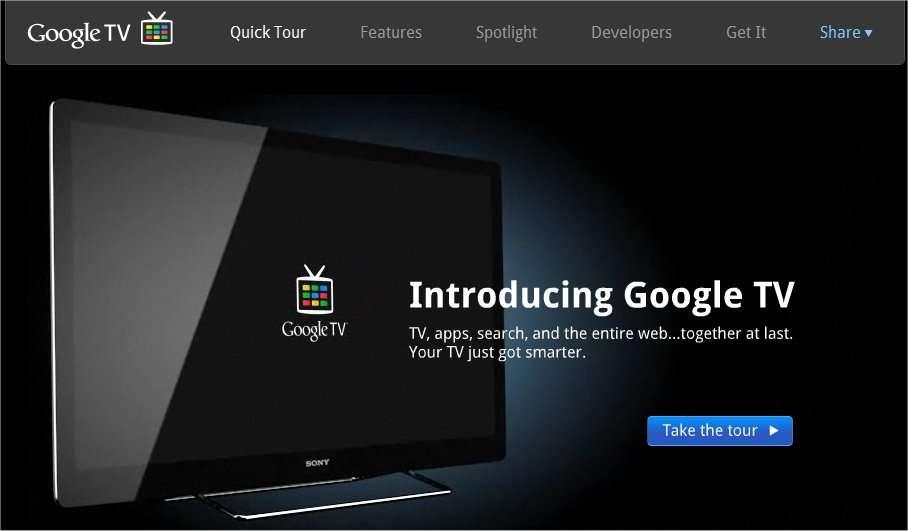 Un site présente Google TV (ici une capture d'écran). © DR