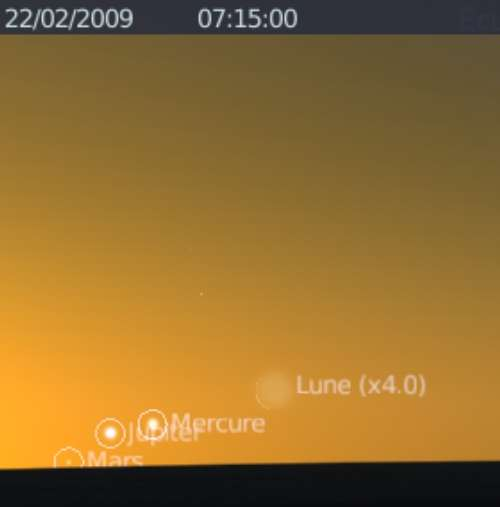 La Lune est en alignement et rapprochement avec la planète Mercure et Jupiter