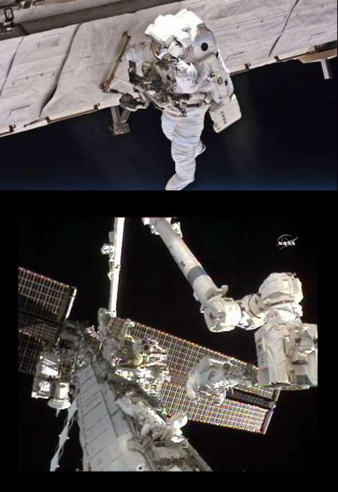 Finalement, la Nasa aura besoin de trois sorties dans l'espace pour réparer un des deux systèmes de climatisation de la partie américaine de la Station tombé en panne le 31 juillet. Crédit Nasa (image Nasa TV)