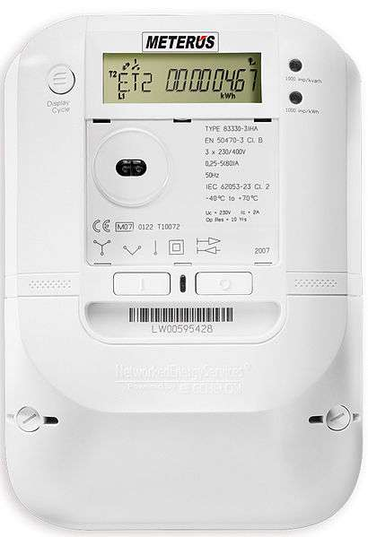 Un compteur communicant utilisé en Allemagne par EVB Energie AG. © J. J. Messerly, Wikimedia Commons, cc by sa 3.0