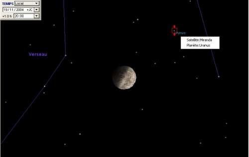 La Lune passe à proximité de la planète Uranus