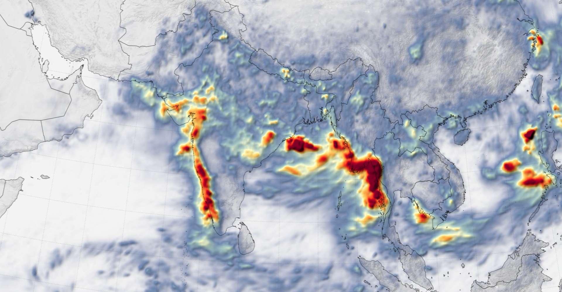 Le cumul des précipitations sur l'Asie du Sud-Est du 1er au 12 août 2019. © Nasa