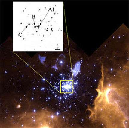 NGC 3603 et NGC 3603-A1. Crédit : Centre de recherche en astrophysique du Québec