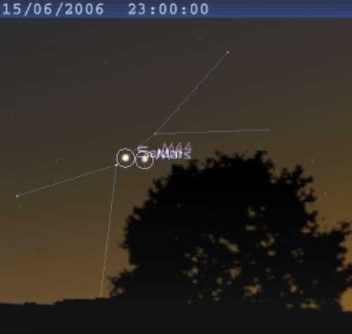 Les planète Mars et Saturne sont proches l'une de l'autre, et au centre de l'amas de la Crèche (M44)