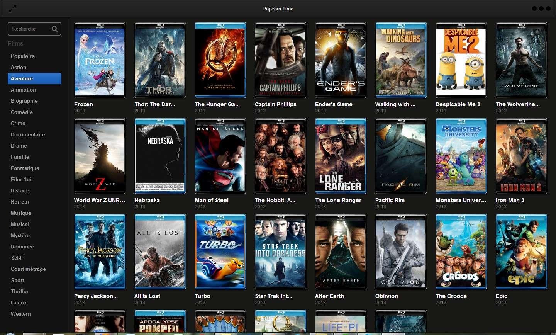 Conçue par une équipe de développeurs basés à Buenos Aires (Argentine), l'application Popcorn Time voulait simplifier au maximum la lecture de vidéos via le réseau pair à pair BitTorrent. Une fois téléchargée sur l'ordinateur, il suffit de la lancer pour accéder au catalogue de films disponibles en streaming. Il n'y a plus qu'à cliquer sur une jaquette, puis sur le bouton « Regarder ». Attention : les contenus référencés sont dans leur quasi-totalité protégés par le droit d'auteur, ce qui signifie que leur consultation engendre les mêmes risques que le téléchargement illégal. © Popcorn Time