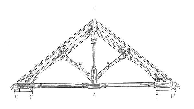 Exemple de jambage : une charpente munie de jambes de force. © Eugène Viollet-le-Duc, Domaine public, Wikimedia Commons