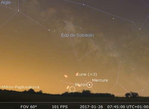 La Lune en rapprochement avec Mercure
