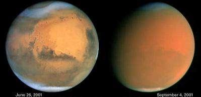 Photos exceptionnelles d'une tempête sur Mars