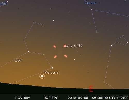La Lune en rapprochement avec Régulus et Mercure