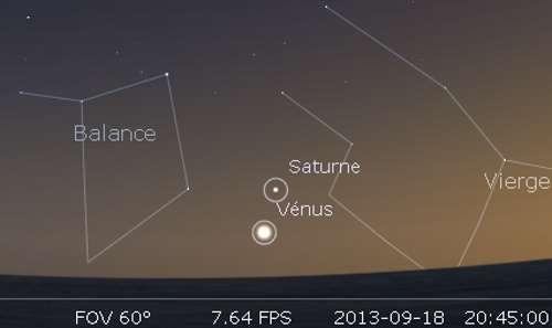 Le 18/09/2013 : Vénus en rapprochement avec Saturne. © DR