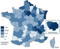 Cette carte représente le nombre de communes couvertes par la technologie ADSL en France par département.