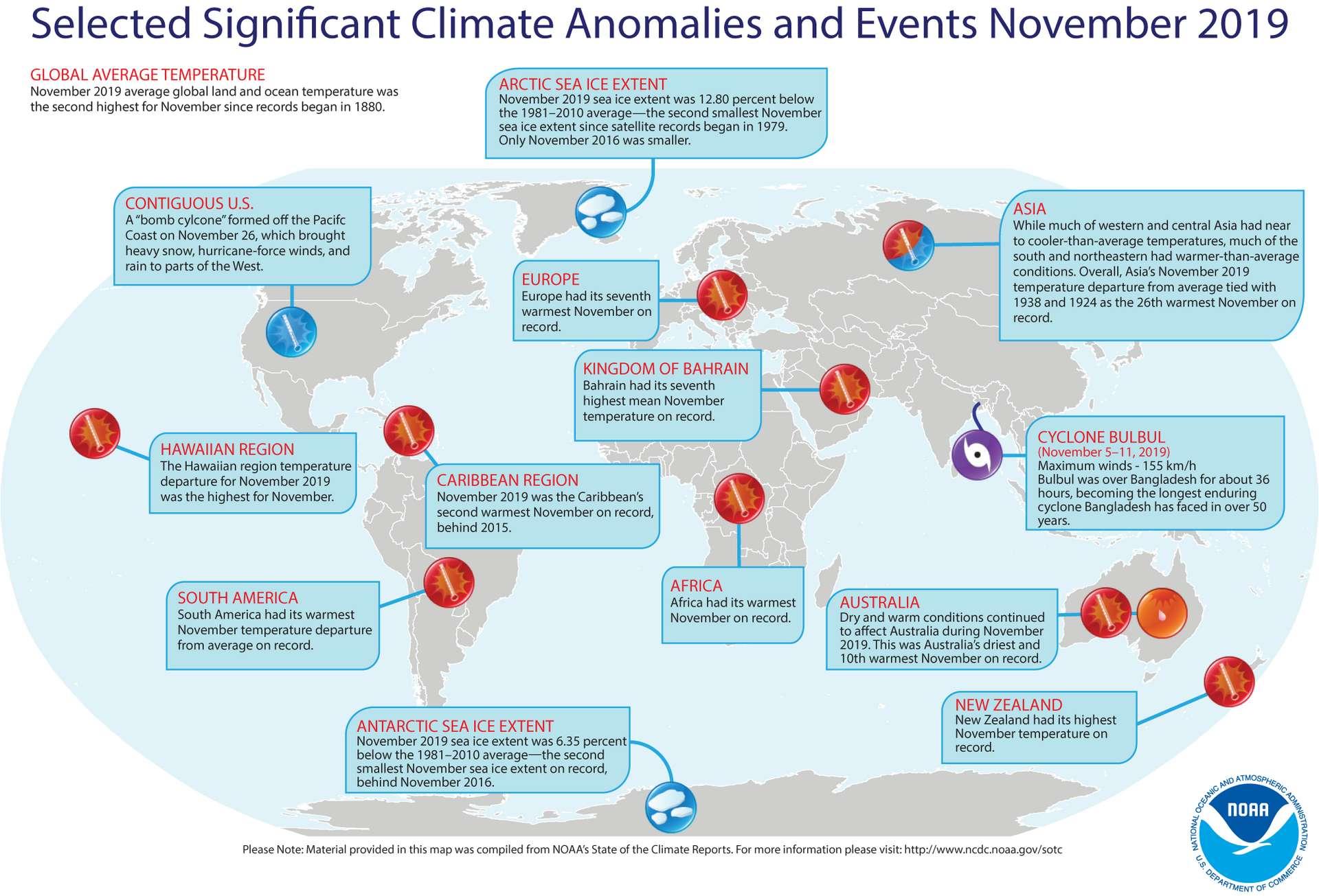 Cette carte montre les événements climatiques notables qui se sont produits dans le monde en novembre 2019. © NOAA