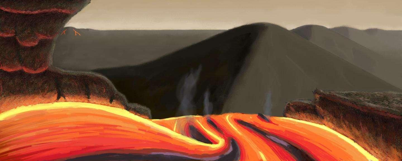 En vertu de l'analyse du spectre de l'étoile Tau Ceti, qui présente une abondance en magnésium (relativement au silicium) plus grande que notre Soleil, une équipe de chercheurs s'est intéressée à la géologie des superterres qui lui gravitent autour. Ils imaginent des paysages comme celui de cette illustration, qui tient compte des possibles caractéristiques physiques de ces mondes situés à 12 années-lumière de nous. © Joshua Gonzalez
