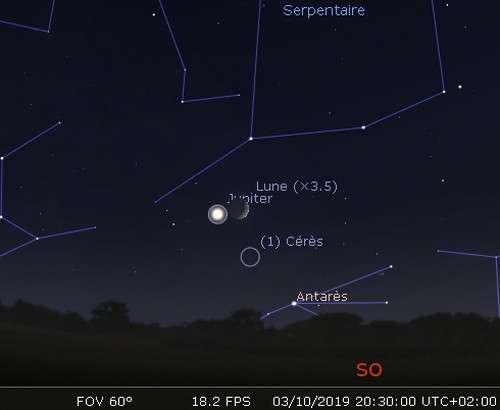 La lune en rapprochement avec Jupiter, Cérès et Antarès