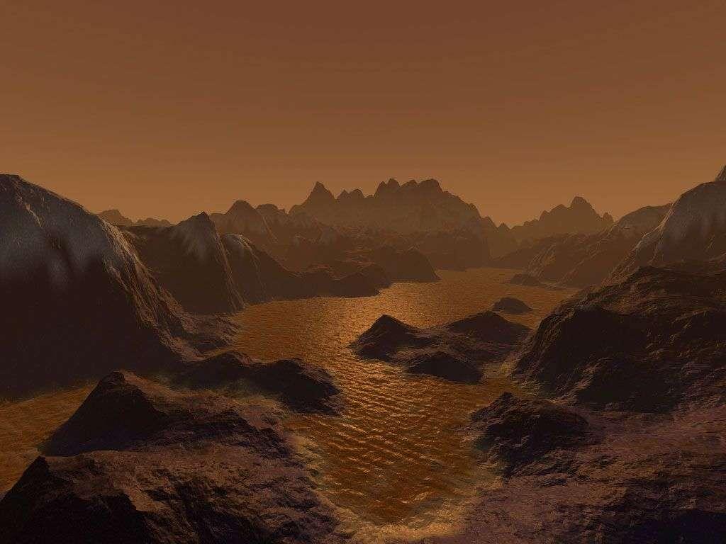 Lacs de méthane sur Titan (vue d'artiste). Crédit Nasa/JPL