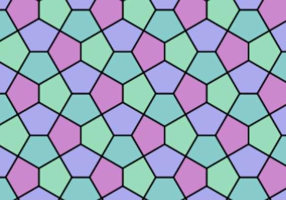 Un pavage pentagonal peut être constitué de pentagones réguliers ou non. L'un des plus célèbres, présenté ici, s'appelle le pavage du Caire. Il fait partie des quatorze types de pavages pentagonaux isoédraux, c'est-à-dire employant un seul type de tuile, connus à ce jour. © Creative Commons wikipedia