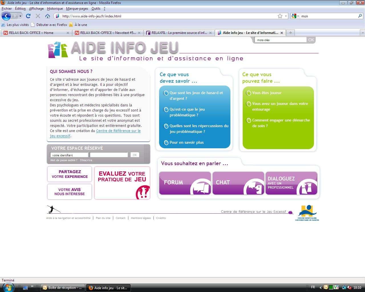Le site Aide-Info-jeu.fr, lancé par le Centre nantais de référence sur le jeu excessif, veut aider les joueurs excessifs et leur entourage. © DR