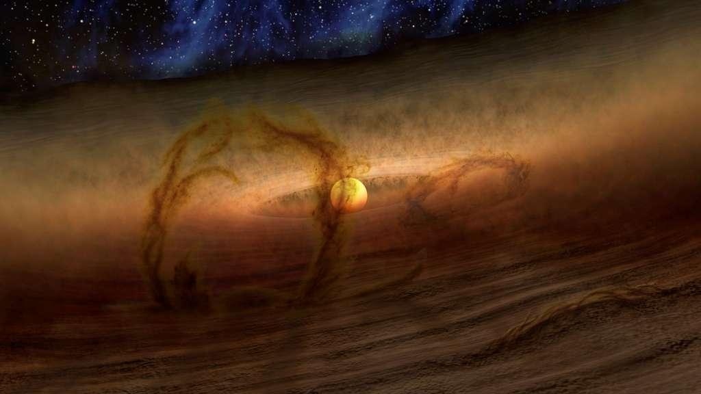 Cette image d'artiste montre ce que verrait un observateur aux yeux sensibles à la fois au domaine visible et à l'infrarouge aux abords des disques protoplanétaires. Il constaterait la présence de l'équivalent des boucles magnétiques du Soleil, mais s'élevant ici au-dessus d'un disque riche en gaz et en poussières. Ces boucles magnétiques seraient à l'origine de l'énigmatique excès de lumière infrarouge associé à ces disques découvert en 2006 par Spitzer et que l'on ne comprenait pas. © Nasa