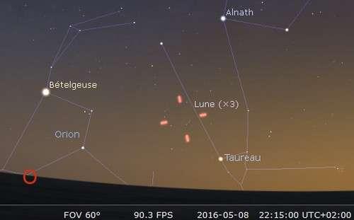 Le 8 mai 2016 : la Lune en rapprochement avec Aldébaran. © DR