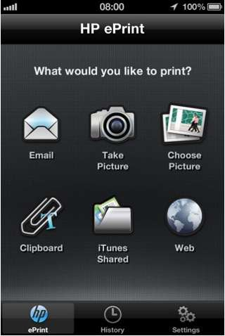 L'application HP ePrint service sur un iPhone. © Apple